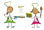fillettes cuisinent crêpes